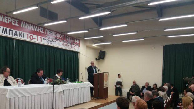 Ο Σωκράτης Βαρδάκης στην εκδήλωση για τη Γερμανική κατοχή στο Τυμπάκι