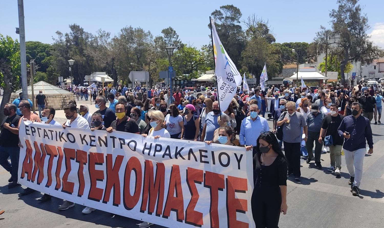 Στην πορεία του Εργατικού Κέντρου Ηρακλείου και των εργατικών σωματείων ενάντια στο αντεργατικό νομοσχέδιο Χατζηδάκη, βρέθηκε ο Σωκράτης Βαρδάκης