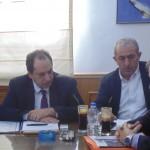 Φωτογραφία από την σύσκεψη στην Περιφέρεια Κρήτης υπό τον Υπουργό Υποδομών Χρ. Σπίρτζη , παρουσία του Σωκράτη Βαρδάκη