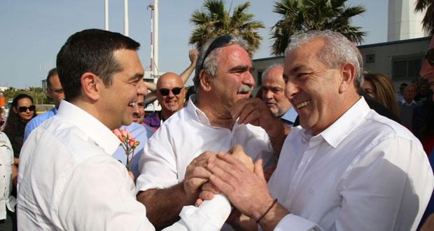 Από την υποδοχή του Πρωθυπουργού Αλέξη Τσίπρα στο αεροδρόμιο Ηρακλείου