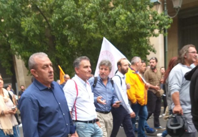 Συμμετοχή την πορεία των εργαζομένων στην Αθήνα κατά την απεργιακή κινητοποίηση εναντίον του αναπτυξιακού πολυνομοσχεδίου της Κυβέρνησης