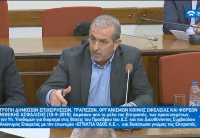 Στην επιτροπή της Βουλής κατά την συνεδρίαση για την επιλογή προέδρου και Δντος Συμβούλου για την ΕΓΝΑΤΙΑ ΟΔΟΣ Α.Ε.