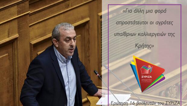 Σ. Βαρδάκης: «Για άλλη μια φορά απροστάτευτοι οι αγρότες υπαίθριων καλλιεργειών της Κρήτης»