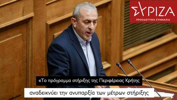 Σωκράτης Βαρδάκης: «Το πρόγραμμα στήριξης της Περιφέρειας Κρήτης αναδεικνύει την ανυπαρξία των μέτρων στήριξης που έχει μέχρι σήμερα εφαρμόσει η Κυβέρνηση»