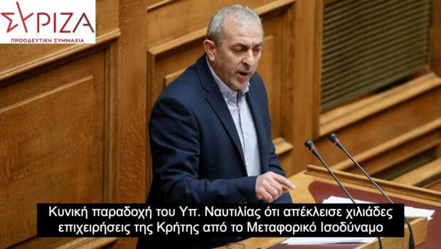 Σωκράτης Βαρδάκης: «Κυνική παραδοχή του Υπ. Ναυτιλίας ότι απέκλεισε χιλιάδες επιχειρήσεις της Κρήτης από το Μεταφορικό Ισοδύναμο»