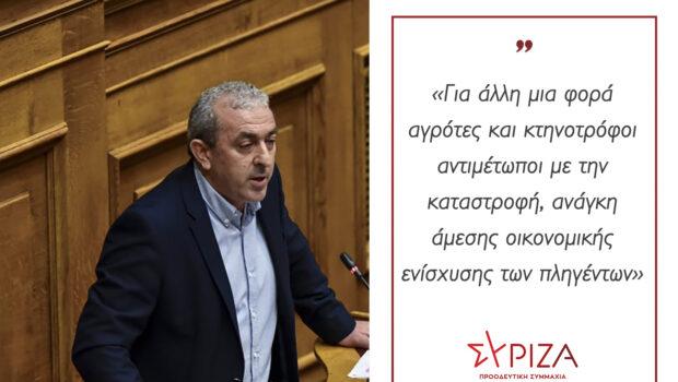 Σωκράτης Βαρδάκης: «Για άλλη μια φορά αγρότες και κτηνοτρόφοι αντιμέτωποι με την καταστροφή, ανάγκη άμεσης οικονομικής ενίσχυσης των πληγέντων»